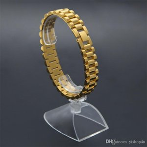 Luxury 15mm 22CM Men Watch Band Bracelet Gold Plated Stainless Steel Strap Solid Links Cuff Bangles Jewelry Gift