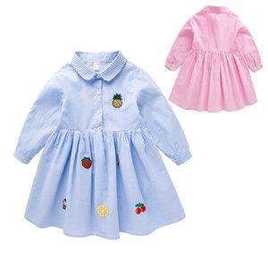 Listrado Bebés Meninas Vestidos on-line Moda de Nova Vestido camisa Cottom bonito Vestido manga comprida 18081701