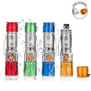 4 linterna LED de color distancia de iluminación recargable incorporada de la batería compatible con el zoom 3 modos de 300 metros de intemperie