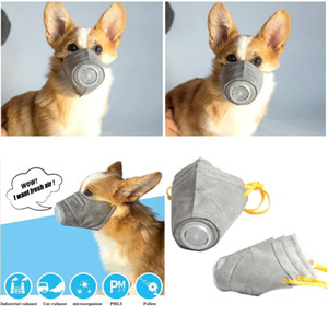 3PCS / SET Pet Maschera cane museruola di maschere di fumo Bocca maschera antipolvere Anti-PM2.5 Bite regolabile traspirante Grey Dog Training Muso protezione animali