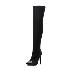 Superstar Winter Woman Boots Stretch Over The Knee Pointed Toe Black Thigh High Heels Sock Boots Sexy Female Botines Motorcycle