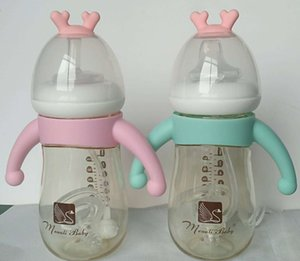 ppsu with a straw and a of dual-purpose newborn baby arc and tooth Milk milk bottle Straw bottle cover handle nipple anti-flatulence