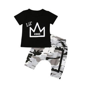 Niños recién nacidos niños bebés Corona Imprimir Tops camiseta camuflaje pantalones cortos pantalones 2PCS conjuntos ropa Set 0-5T 2 colores Baby Boy ropa