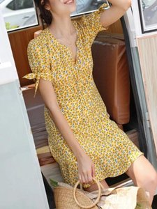 Daisy Print Women Mini Dress Holiday Retro Single-breasted Lace-up Short Sleeve Prairie Chic Dresses Yellow Sundress