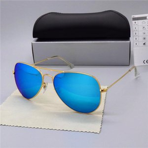 Дизайн поляризованные солнцезащитные очки Мужчины Женщины пилот солнцезащитные очки UV400 очки классические водительские очки металлическая рамка стеклянная линза с коробкой 3025