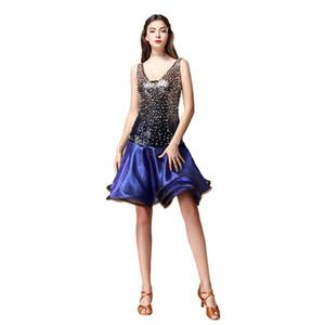 Ballroom Latin Dance Abiti da donna formale ballo vestito latino con perle Shinning Dress per donna ballerina vestiti Rumba