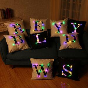 LED-Laterne glühendes Kissen Kissenbezug Flanell Kissenbezug Kreative Schreiben Art Individueller Großhandel Kopfkissenbezug