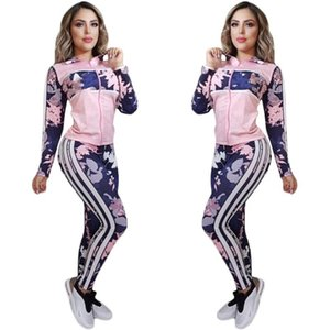 2020NEW spring autumn Print stripe Tracksuits Women Two Piece Set zipper Jacket Tops And pants suit Jogger Set Casual Sports suit Streetwear