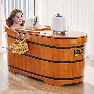 High Quality Cedar Barrel Bath Tub For Adults Wood Swimming Pool Safety Security Seat Support Household Bathtub