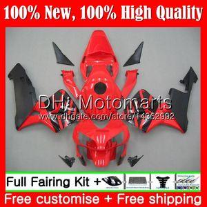 Kit de inyección Rojo negro + Tanque para HONDA CBR 600RR 03 CBR600 RR 2003 2004 58MT3 CBR600RR CBR 600 RR 600F5 CBR600 F5 03 04 Carenado Carenado