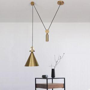 Шкив подвесной светильник латунь цвет люстра регулируемая Nordic дизайн подвеска лампы середины века Модер деко подвесной светильник