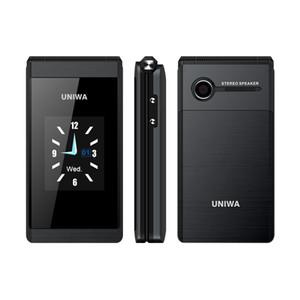 Original UNIWA X28 Sênior Flip Telefone GSM Grande Push-Button Velho Telefone Flip Celular Dual Sim Rádio FM de Negócios de Luxo Desbloqueado Celular