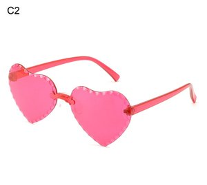 2020 children's Sunglasses Gradual cartoon love shaped children's Sunglasses rimless cut peach heart children's Sunglasses 212