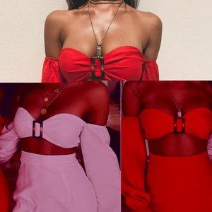 2020 top tube femelle manches longues jupe sac de vacances de boucle en métal de combinaison de couleurs de la hanche solide avec un tampon de poitrine 2 femmes fixés à la pièce