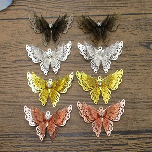 Three-winged Butterfly Charms 4PCS Lot 36*22mm Rhinestone inlaid Bride Skirt Decoration Butterflies 4 Colors Available-WY1149