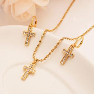 Bangrui New éthiopienne Croix Jewelry Set Pendentif chaîne / Boucles d'oreilles Collier de couleur d'or Christian