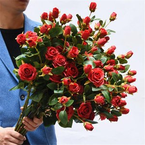 6 Niederlassung / pcs Hochzeit Silk Rose Simulation Franch Blumen Rose Home Furnishings Gefälschte Blumen-Dekor Schreibtisch künstlichen Blumen 5pcs / lot