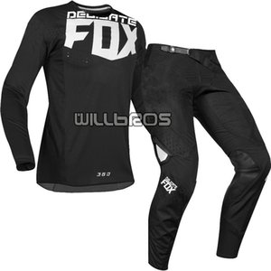 2019 DELICATE FOX MX 360 كفركلا جيرسي السراويل موتوكروس الترابية دراجة MTB ATV الكبار سباق والعتاد مجموعة الأسود
