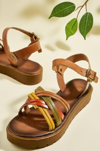Bambi Genuine Leather Tan Multicolour Women 'S Sandals H06859705