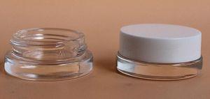 5ml verre pot de cachette contenant 5g logo personnalisé cire claire dab contenant mini petit pot cosmétique avec couvercle en or blanc noir 2019 meilleur chaud