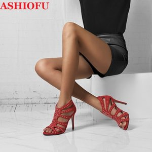 ASHIOFU Handmade Classic Ladies Stiletto Sandals Rivets Spikes Faux-suede Party Prom Shoes Peep-toe Sexy Evening Fashion Sandals