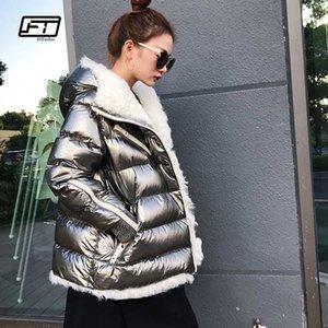 Fitaylor Inverno Donna Bianco anatra parka pelliccia dell'agnello cappotto incappucciato femminile caldo Patchwork soprabito argento Outwear