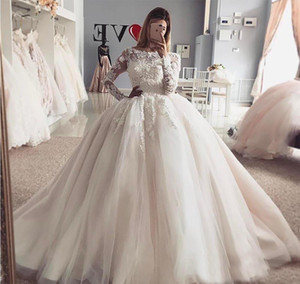 New Vintage Arabic Dubai Princess Wedding Dress Puffy Sheer Long Sleeves Lace Appliqued Tulle Bride Bridal Gown Plus Size Custom Made