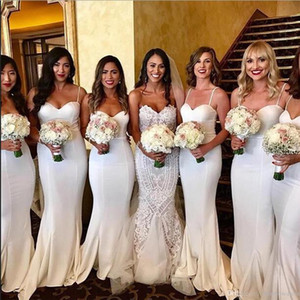 2019 White Spaghetti Straps Satin Mermaid Bridesmaid Dresses Ruched Sweep Train Wedding Guest Maid Of Honor Dresses BM0902