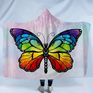 Butterfly Hooded Blanket Fleece Tragbare Decke mit Hut Bedruckte Schmetterlingsdecken Kids Adult Winter Kapuzenmäntel Sherpa Wrap GGA2201