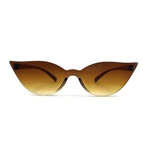 COOYOUNG Fashion Cat Eye Women Designer Trendy Narrow Triangular Sunglasses Small Ladies Vintage Sun Glasses UV400