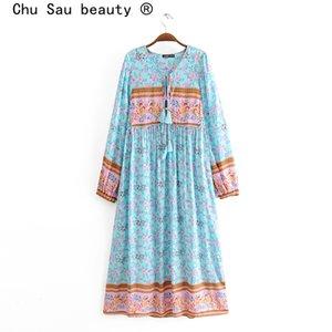 Chu Sau bellezza nuovo modo multicolore Boho Chic stampa floreale Vestito allentato Beach Vintage nappa lunghi abiti femminile Holidaywear