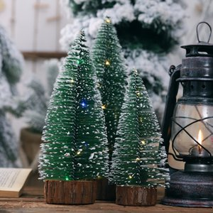 New Artificial Christmas Pine Tree On Round Wooden Base With Battery Powered LED Light String Xmas Holiday Gift Tabletop