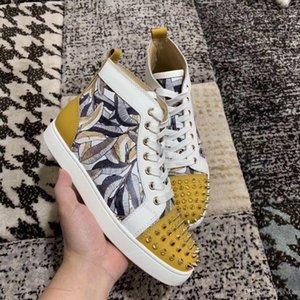 Eur35-46 Designer Shoes High Cut feuille d'érable doodle en cuir rouge Bas Pointe Sedue veau Sneaker luxe Party Chaussures de mariage Chaussures Casual