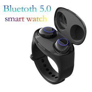 Montre intelligente HM50 True Wireless TWS Écouteurs Bluetooth5.0 Headset Touch Control HiFi Écouteurs avec Étui de Puissance pour Bracelet pour IOS Android
