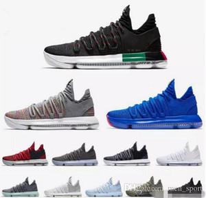 "2018 de alta qualidade KD 10 Elite PE BHM Black ""35"" Sapatos Branco X Blue Ice Red basquetebol por Kevin Durant 10s Multicolor Sports Sneakers 7-12"