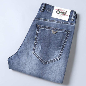 pantolon erkek kot Fashionable erkek delik işlemeli kot pantolon delik boyutu 28-38 mavi ile, kot şort yapılan