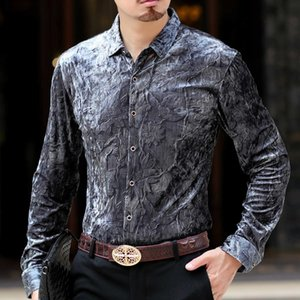 Herbst-Designer Shirt Männer Camisa Social Masculina De Luxo Camicia Uomo Shirt Männer Langarm Samtkleid Button Down