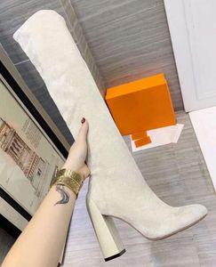 Мода Марка H Женская Бедро высокие сапоги Мартин дамы Коренастый Высокий каблук 10.5CM носками 22 дюймов Stretch замшевые полусапожки SZ35-41