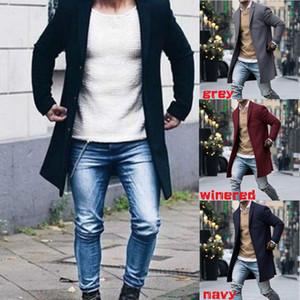 2019 Mode Hommes Hiver Laine Manteau Trench-Coat Chaud Outwear Manteau Long Veste Top Taille M-3XL Pour 5 Couleurs