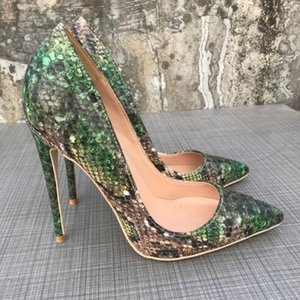 Hot Sale- Snakeskin Pointed High Heels Pumps,Women Classic Luxury Red Bottom high-heeled Shoes,Thin Heel Wedding Party Dress Shoes 120mm