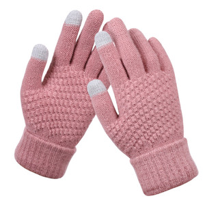 Женские трикотажные зимние перчатки кашемира Вязаная Женщины Осень Зима Теплый Толстые перчатки сенсорного экрана Горные лыжи перчатки