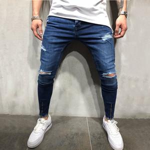 Mens Fashion Blue Hole Ripped Skinny Jeans Streetwear Distressed Détruite cow-boy Slim élastique Hip-hop pantalons trou Joggers Denim