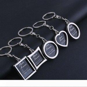 Творческая фотография рамки Пара брелок Личность Photo Frame Key Chain Творческие подарки 5 Стили Key Ring могут быть настроены маркировочного