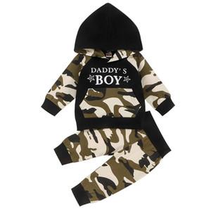 Çocuklar Boys Kamuflaj Kıyafetler Bebekler Bebek Karikatür Kapüşonlular Çocuk ayarlar Casual Giyim Kız Çiçek Casual Bebek Bebek Çizgili 06 ayarlar Tops