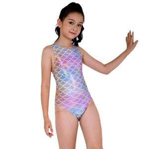 Professionelle Badeanzug Mädchen Fisch-Skala Kinder Bademode One Piece für Kinder Quick Dry Trainingsschwimmanzug Thong Backless 2020