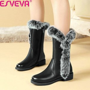 ESVEVA 2020 New Autumn Winter PU Leather Square Heel Casual Mid Calf Boots Round Toe Warm Fur Slip on Women Shoes Big Size 34-43