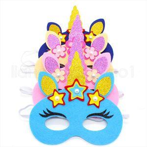Led войлок единорог маски нетканые партия косметика светящиеся украшения дети подарок на день рождения игрушка реквизит партии половина лица FFA2654