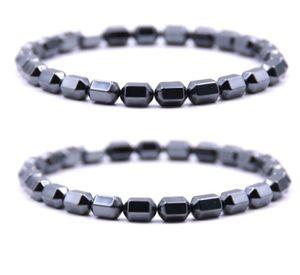 Pulseira de pedra de bálsamo preta 2 peças / set contas de tratamento de hematita magnética pulseira das senhoras dos homens feitos à mão pulseiras de aniversário pai-filho par