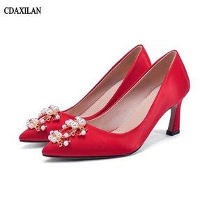CDAXILAN novas chegadas bombas sapatos de seda das mulheres de Salto Alto vermelho sapatos de Casamento festa Formal senhoras damasco apontou toe moda verão