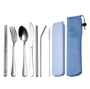 DHL 7Pcs Set Stainless steel Cutlery Set with Bag and box Tea spoon Fork Knife chopsticks straw brush Kitchen Flatware Dinnerware Set nd